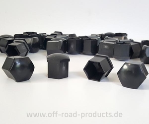 12 Abdeckkappen Radschrauben SW19 schwarz Trailer